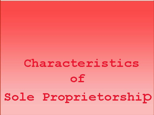 Characteristics of Sole Proprietorship Business Form